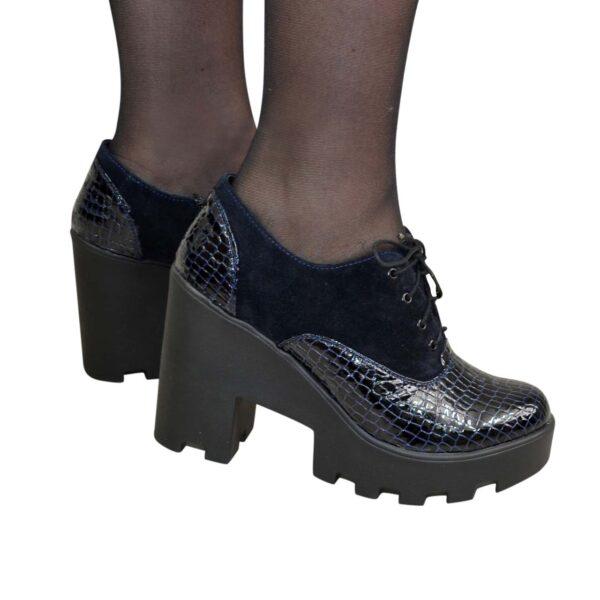Туфли синие стильные женские на шнуровке, натуральная замша и кожа питон