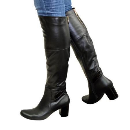 Ботфорты черные кожаные на устойчивом каблуке, осень зима