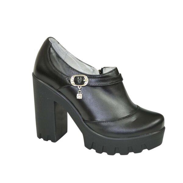 Туфли женские на тракторной подошве, натуральная черная кожа