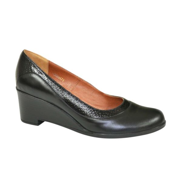 Туфли женские классические на невысокой устойчивой платформе, натуральная кожа и кожа питон