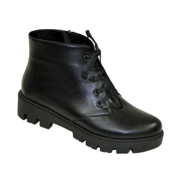 Ботинки зимние женские черные кожаные на шнуровке, утолщенная подошва
