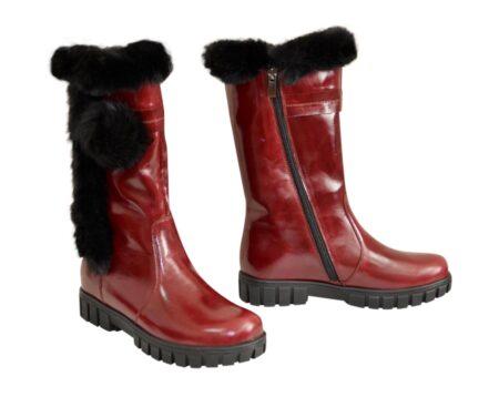Полусапоги бордовые кожаные для девочек подростковые на утолщённой подошве