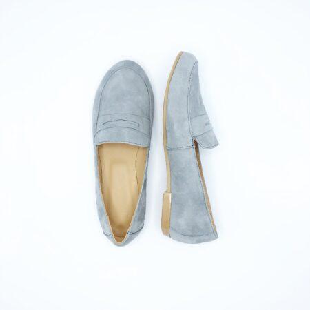 Удобные туфли-мокасины из натуральной замши серого цвета