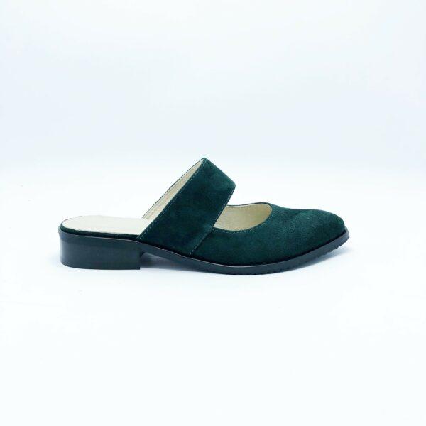 Сабо-мюли из натуральной замши зеленого цвета