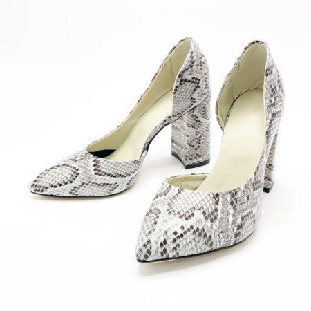 Стильные женские туфли из натурального питона с обтянутым кожей каблуком