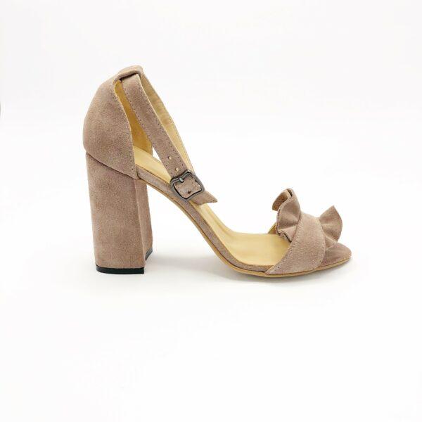 Босоножки женские молодежные замшевые на высоком каблуке, цвет пудра