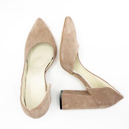 Женские туфли на высоком каблуке из натуральной замши, цвет пудра
