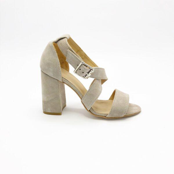 Женские босоножки замшевые на высоком каблуке обтянутом замшей, цвет беж