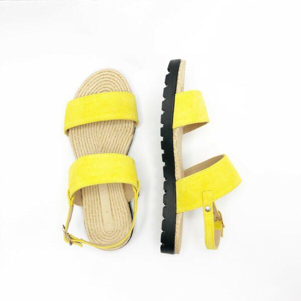 Босоножки женские желтые замшевые на облегченной подошве