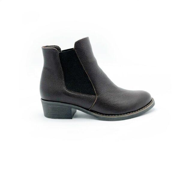 Ботинки женские кожаные на небольшом каблучке, цвет коричневый
