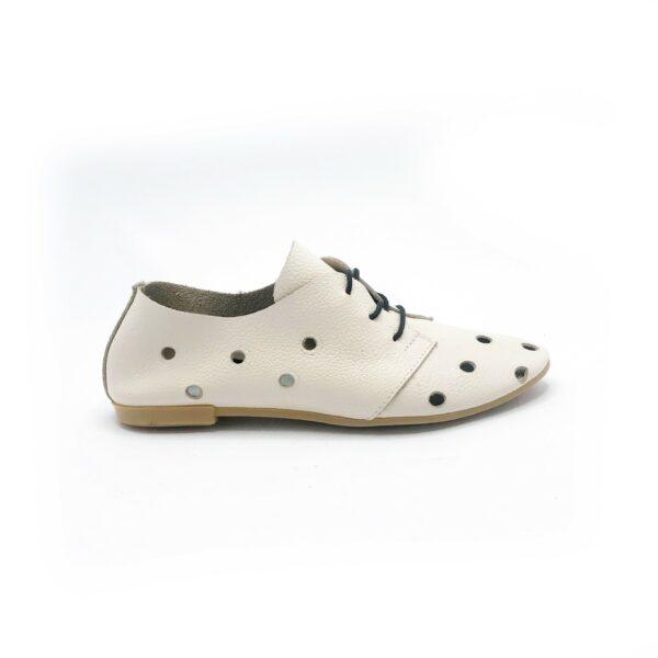 туфли женские кожаные без подкладки бежевого цвета, низкий ход