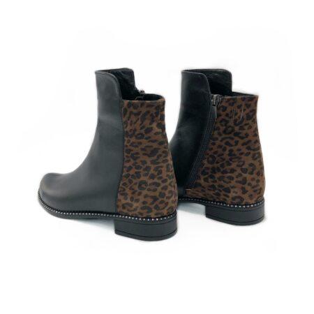 Ботинки женские зима осень кожаные комбинированные леопардом, на низком ходу