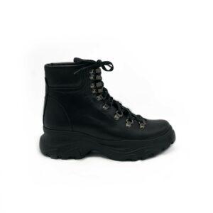 Ботинки женские кожаные черные на утолщенной подошве, зима осень
