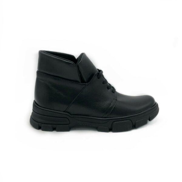 Ботинки женские кожаные черные на шнуровке, демисезон зима