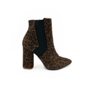Ботинки женские замшевые на высоком устойчивом обтяжном каблуке, цвет леопард