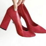Туфли лодочки женские красные замшевые на высоком устойчивом каблуке
