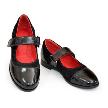 Классические туфли для девочки на липучках, натуральная замша и лак