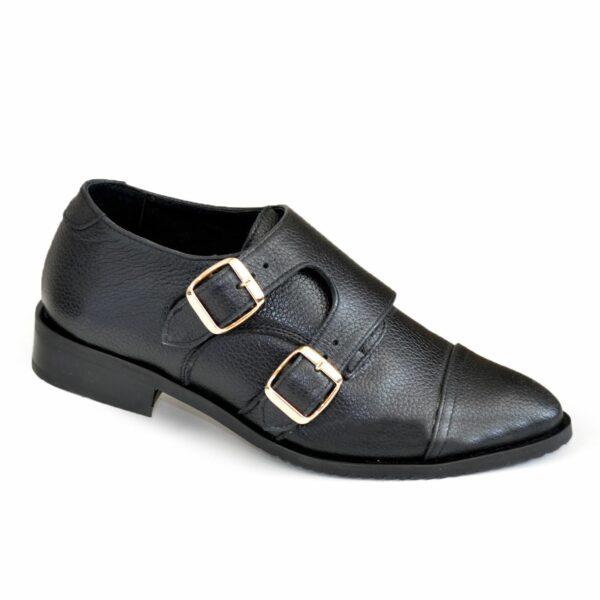 Женские черные туфли, натуральная кожа флотар