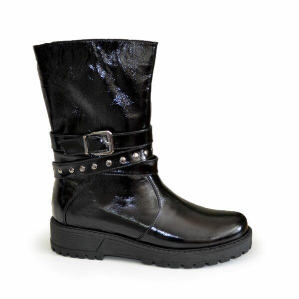 Ботинки лаковые женские зимние на утолщенной подошве