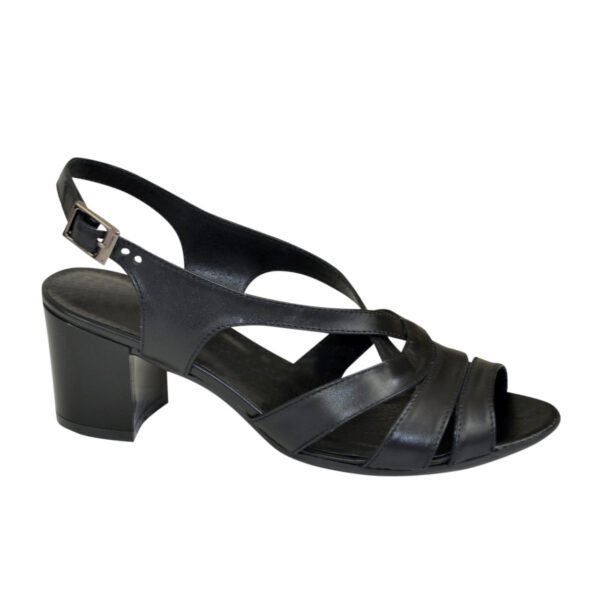 Женские кожаные босоножки на устойчивом каблуке, цвет черный