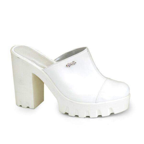 Сабо женские кожаные на устойчивом каблуке, цвет белый