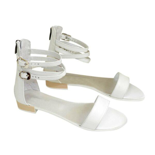 Кожаные белые женские босоножки на низком ходу