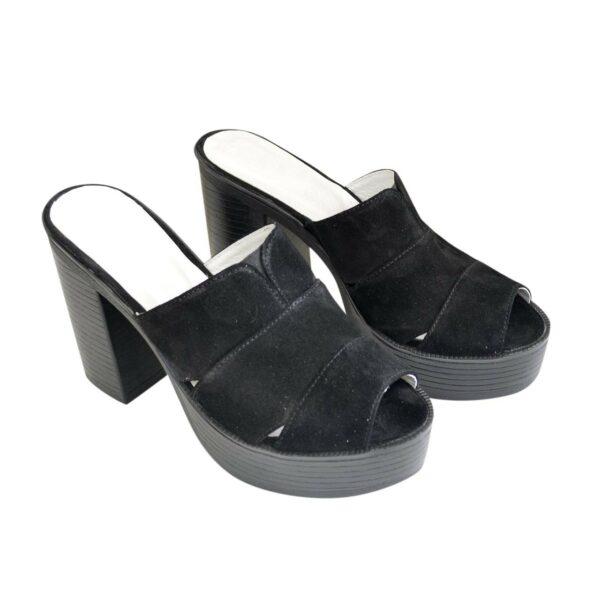 Женские шлепанцы на высоком устойчивом каблуке, из натуральной замши