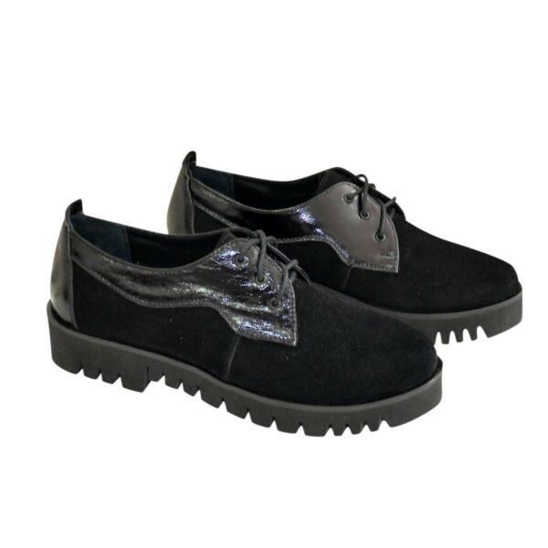 Женские туфли на шнуровке, из натуральной лаковой кожи и замши