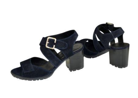 Женские синие замшевые босоножки на устойчивом каблуке