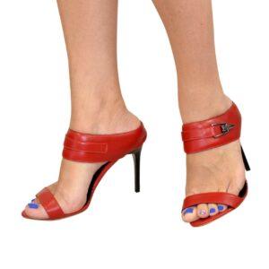 Женские босоножки на шпильке, натуральная красная кожа