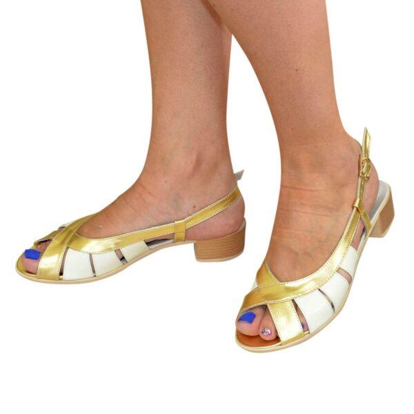 Женские босоножки на невысоком каблуке, цвет золото/бежевый