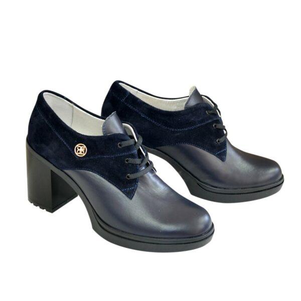 Туфли женские на шнуровке, натуральная кожа и замша синего цвета