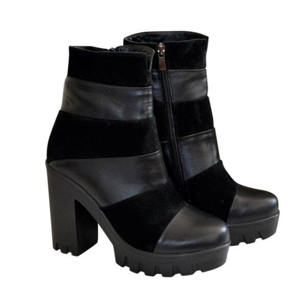 Женские зимние ботинки на тракторной подошве, натуральная кожа и замша