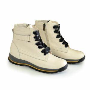 Ботинки кожаные подростковые для девочек на утолщённой подошве, цвет бежевый