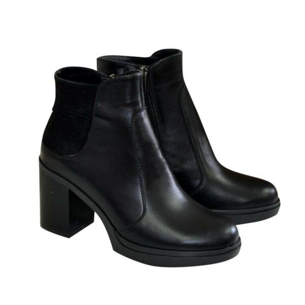 Полуботинки черные зимние женские на устойчивом каблуке, натуральная кожа и замш