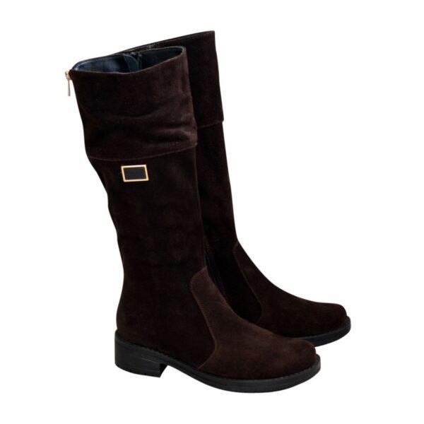 Сапоги коричневые замшевые женские зимние на невысоком каблуке