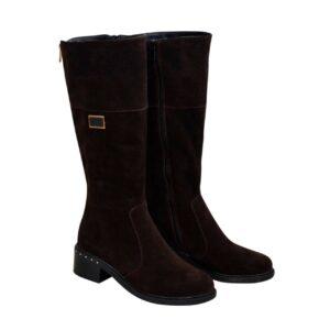 Сапоги замшевые женские зимние на невысоком каблуке, цвет коричневый