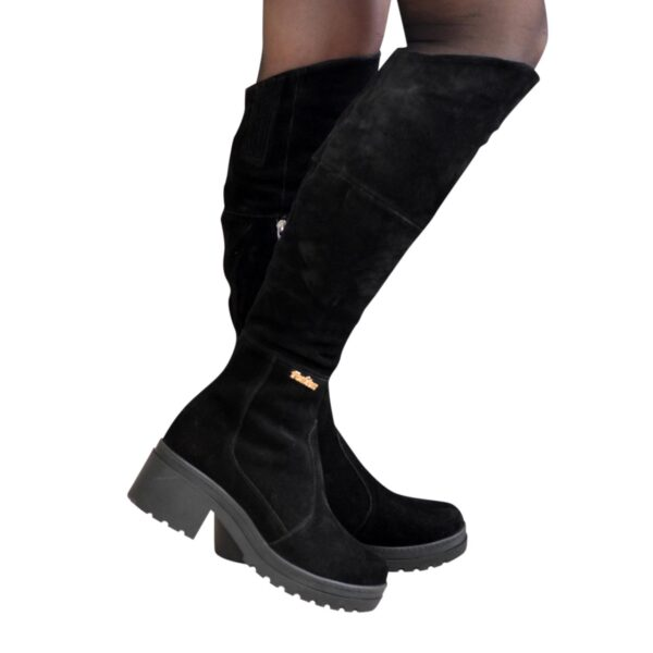 Женские демисезонные замшевые ботфорты на устойчивом каблуке, цвет черный