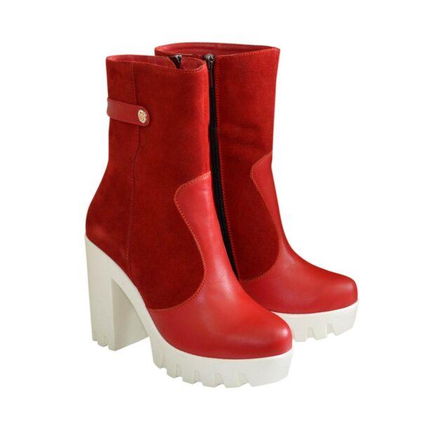 Женские красные зимние ботинки на каблуке