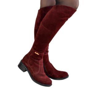 Женские демисезонные замшевые ботфорты на невысоком каблуке, цвет бордо