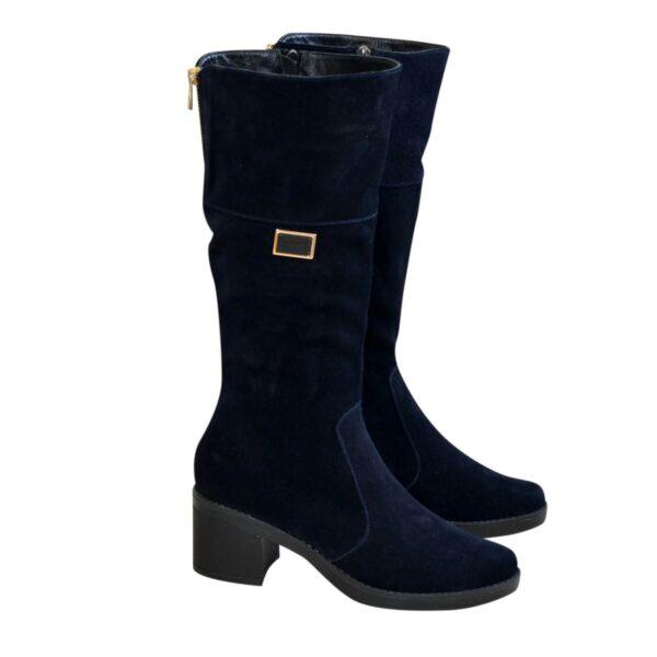 Сапоги замшевые женские зимние на невысоком каблуке, из натуральной замши синего цвета