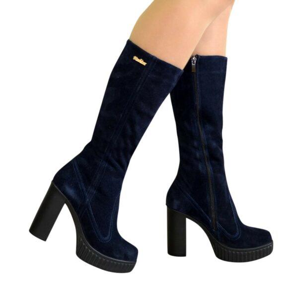 Сапоги демисезонные замшевые женские на высоком каблуке, цвет синий