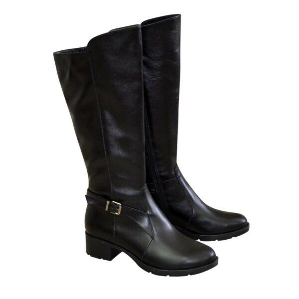 Сапоги женские на невысоком каблуке, натуральная черная кожа