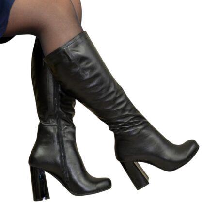 Сапоги черные кожаные зимние на устойчивом каблуке