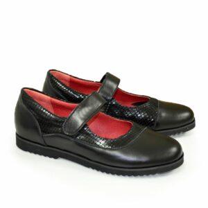 Туфли школьные черные для девочки, натуральная кожа и замша