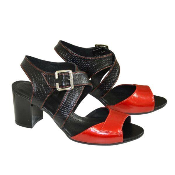 Женские комбинированные босоножки на устойчивом каблуке
