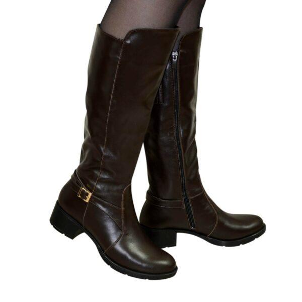 Сапоги женские зимние на невысоком каблуке, натуральная коричневая кожа