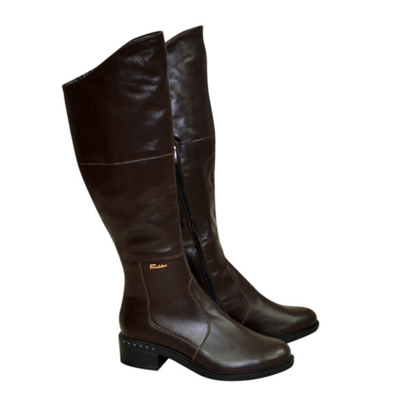 Женские зимние кожаные ботфорты на невысоком каблуке, цвет коричневый
