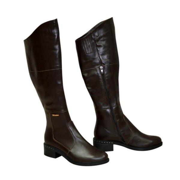 Женские демисезонные кожаные ботфорты на невысоком каблуке, цвет коричневый