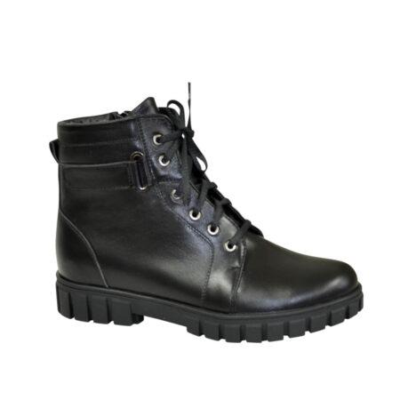Ботинки кожаные для мальчиков подростковые на утолщённой подошве, черный цвет